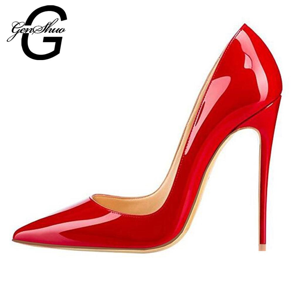 Mulheres Bombas de Couro Envernizado Vermelho Laca GENSHUO Sapatos para Festa de Casamento Sexy Stiletto sapatos de Salto Alto Saltos Do Dedo Do Pé Apontado 10 12cm