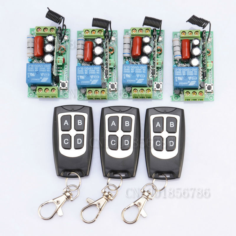 Receiver & Transmitter 220V 1CH 10A Wireless Remote Control Relay Switch System Light Lamp LED SMD ON OFF 220v ac 10a relay receiver transmitter light lamp led remote control switch power wireless on off key switch lock unlock 315433