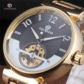 2016 Forsining Famosa Mostrador Azul dos homens Do Crânio Do Esqueleto de Relógios de Luxo Da Marca Horloge Automático Ouro Relógio de Pulso Mecânico Melhor Presente