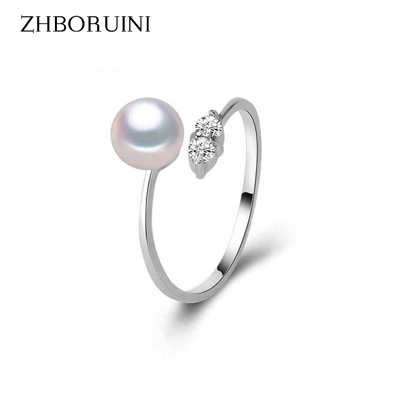 ZHBORUINI Pearl Ring Jewelry Of Silver Zircon Inlaid Rings Freshwater Pearl Wedding Ring ...