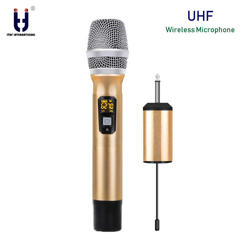 New UHF Wireless Microphone System Handheld LED Mic UHF Speaker with Portable USB Receiver For KTV DJ Speech Amplifier Recording