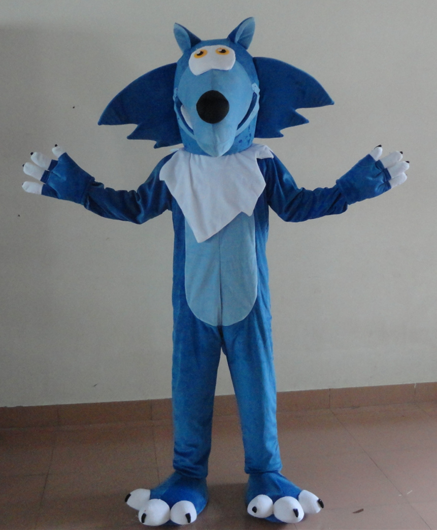2016 Hot Sale Blue Wolf Mascot Costume Adult Fancy Dress Cartoon Outfit Suit