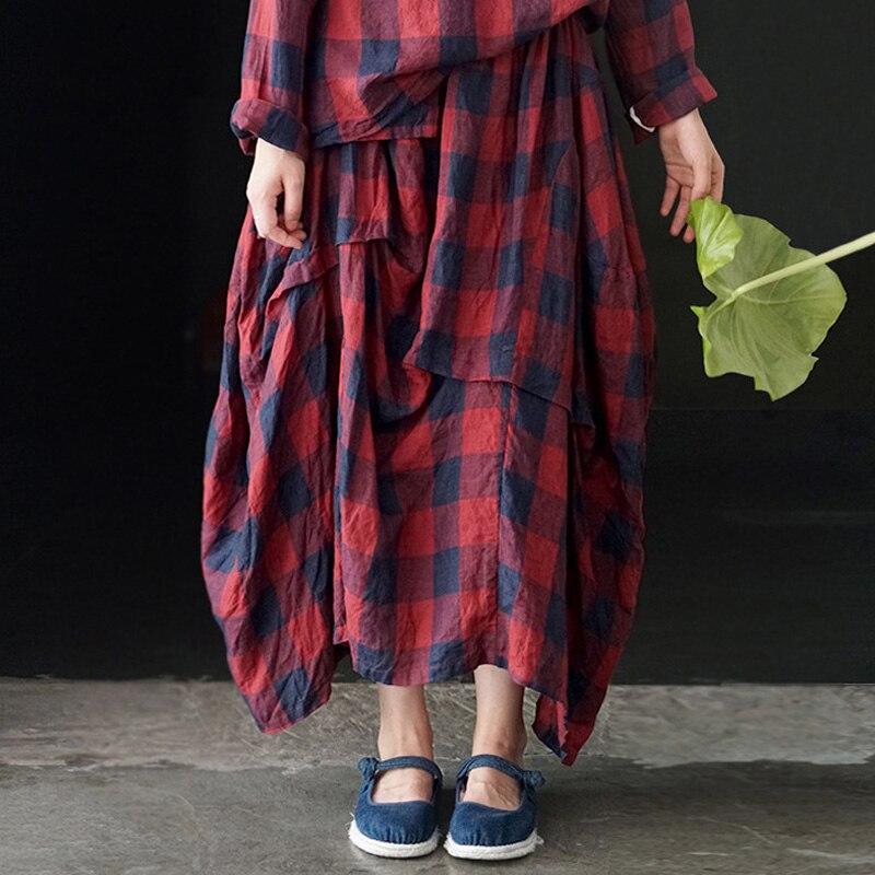 Red Irregular Mujeres De Nueva Cintura Johnature 2019 Primavera Blue Coreano Plaid A Elástica Faldas Vintage Cuadros 16UwUpxF