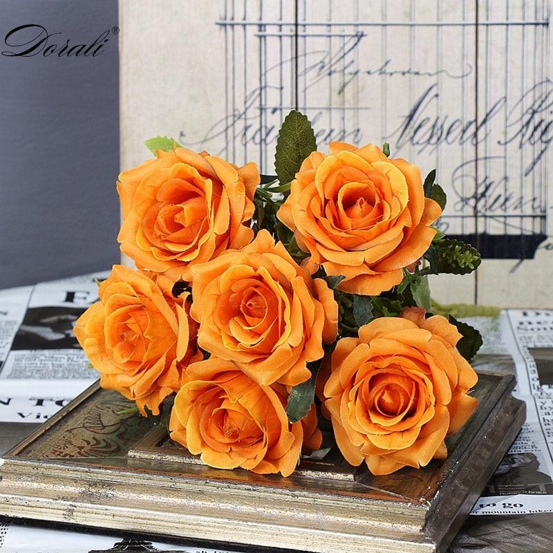 6 голов, белые розы, искусственные цветы, шелк, высокое качество, для свадебного украшения, зимние искусственные большие цветы, красные для домашнего декора, осень - Цвет: orange flowers