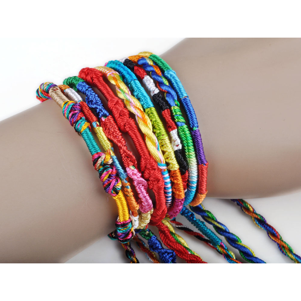 Charm Bangles Braid Bracelets Handmade Rainbow-Color Colorful Girls Women Jewelrygift