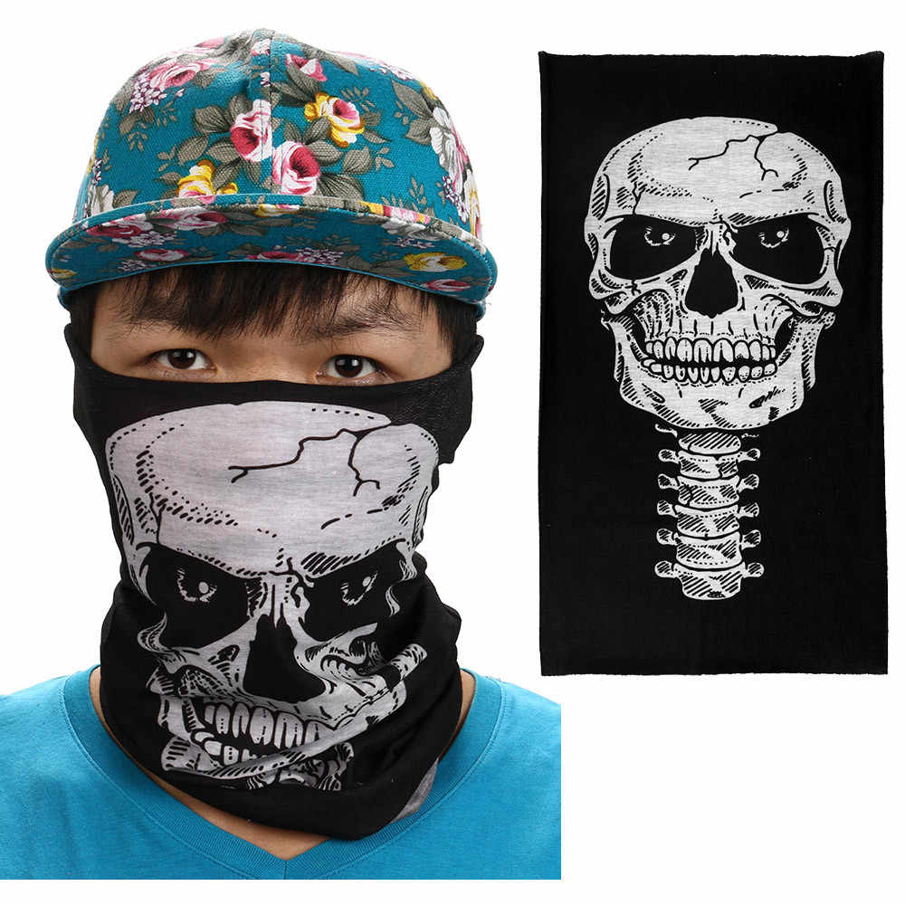 New Halloween Mask Festival Skull Masks Outdoor Motorcycle Scarf Half Face Mask Cap Neck Ghost Ski Scarf Balaclava Party #40