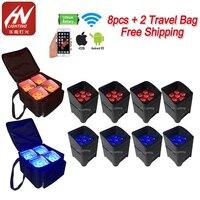 8 шт. с сумкой DJ Freedom Par Hex-6 RGBWA + УФ светодиодный аккумулятор беспроводной аплайт для свадьбы dj disco lights
