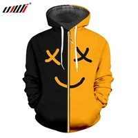 UJWI Man Smiley Face Sports Zip Hoodies 3D Printed Black Yellow Expression Funny Sweatshirt Unisex Zipper Coat Mens Clothing