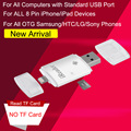 3in1 ireader cartão micro sd/tf leitor usb para ipad iphone 6 6 s plus 5 5S samsung s7 edge s6 s5 note 5 4 3 htc lg sony otg telefone