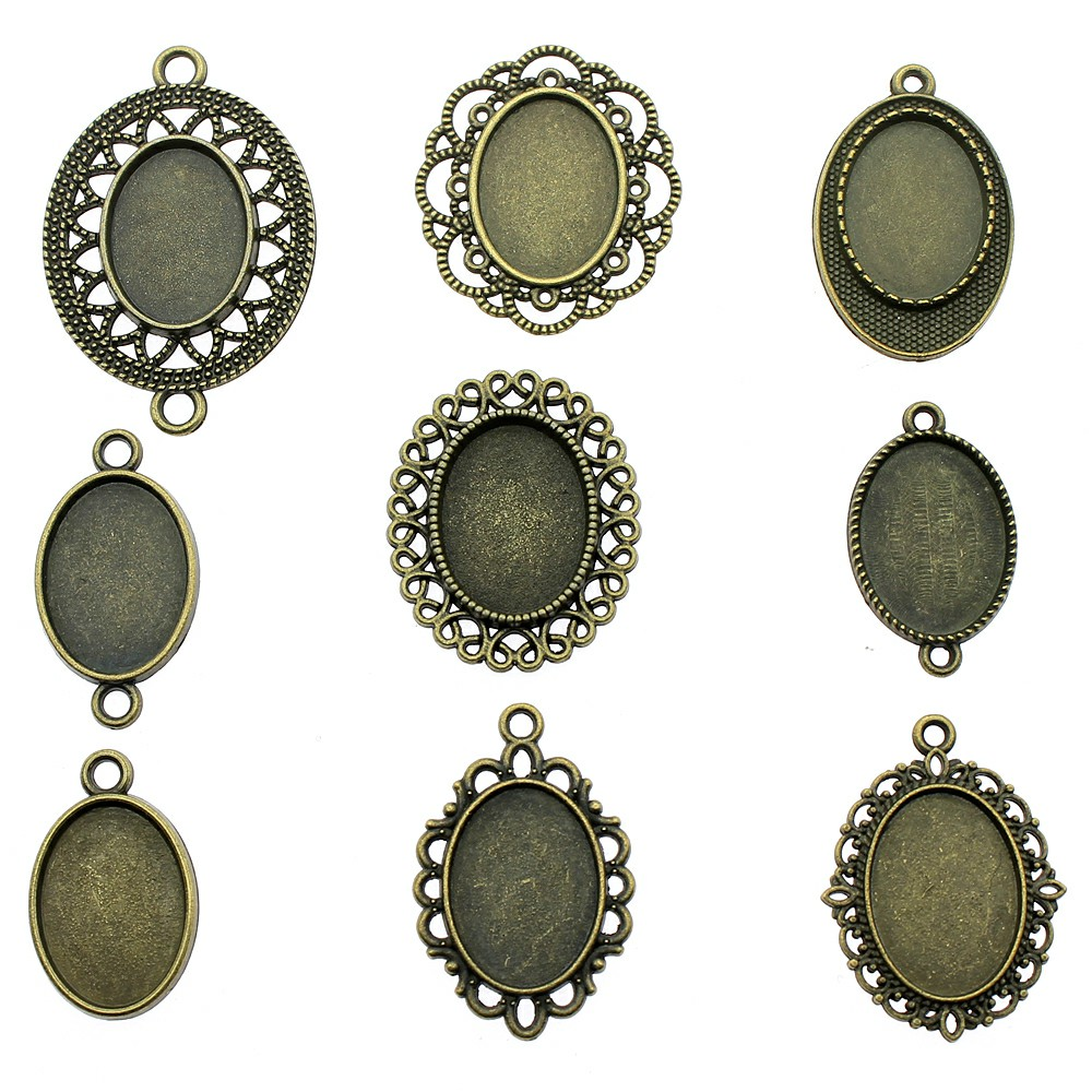 20pcs Fit 13x18mm Oval Glass Cabochon Antique Bronze Cabochon Base Setting Jewelry Accessories Jewelry Making
