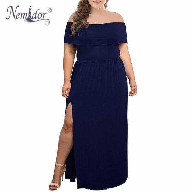 Nemidor 2018 New Arrival Women Sexy Off The Shoulder Party Split Long Dress Vintage Slash Neck Plus Size 7XL 8XL 9XL Maxi Dress 1