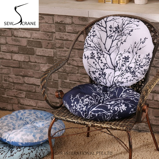 SewCrane Brown Tree Blue Japanese Seating Functional Cushion Round ...