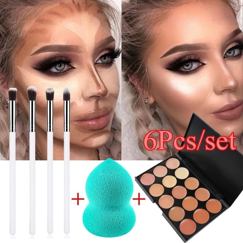 6 Pcs/set MakeUp Brushes Kit 15 Colors Concealer Palette Sponge Puff Makeup Set Kits Pro Facial Contour Palette