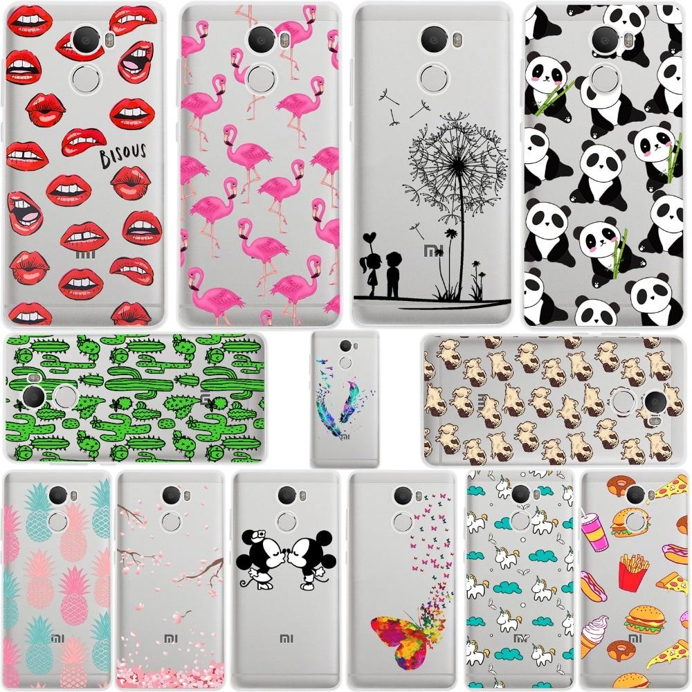 ciciber Mickey&Minnie kiss Lips pineapple unicorn Flamingo cactu panda soft silicone cases cover for xiaomi redmi 4 fundas coque