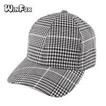 Winfox nueva moda negro blanco houndstooth Plaid gorras Curved Gorras de  béisbol para mujer para hombre 53e0ca9dbc0