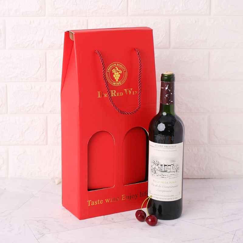 Double Porte Bouteille De Vin En Papier Kraft Papier Kraft Ondule Bouteille De Vin Boite D Emballage Cadeau Alcool Support De Liqueur Aliexpress