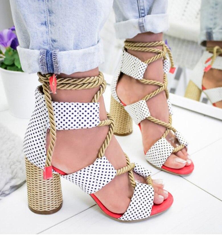 HTB1 Qm0aRKw3KVjSZFOq6yrDVXa2 Women Sandals 2019 Women Heels Shoes For Gladiator Sandals Women High Heels Summer Shoes Woman Lace Up Peep Toe Chaussures Femme