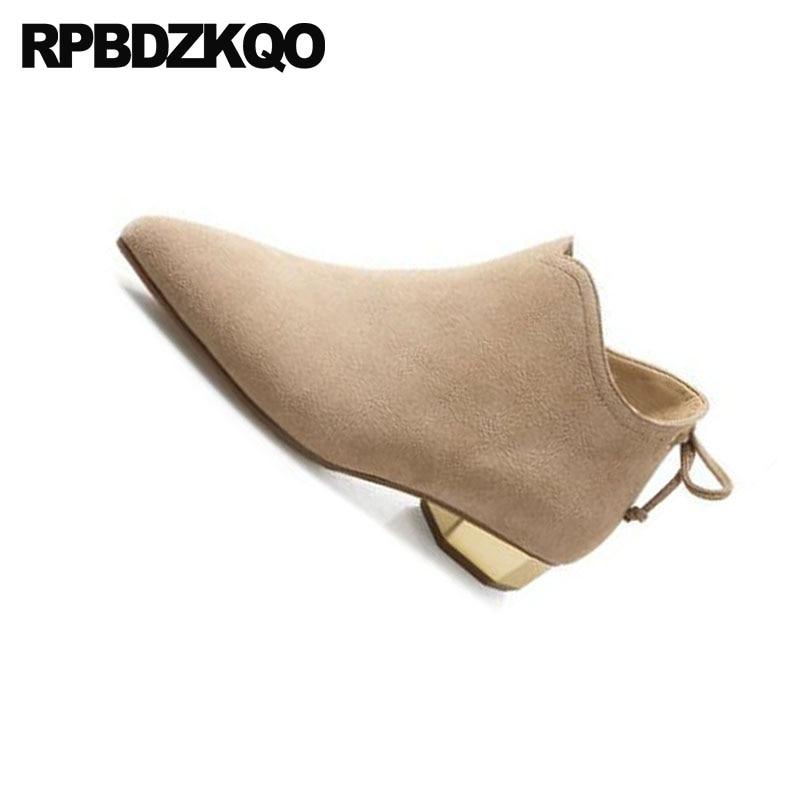 Bottines Hiver Chaussures 10 Bottes Suede Taille Camel Pointu De Automne Talon Véritable Fourrure noir Designer 2018 Cuir Grande Zipper Métal Femmes Bout Chunky En FOnP0UH