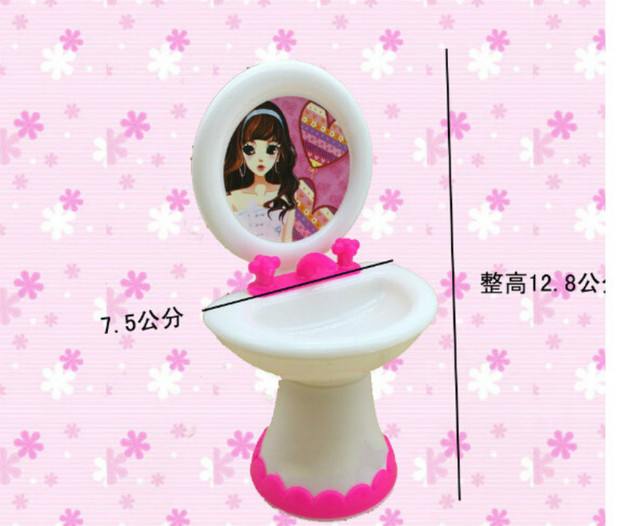 2 Items=Cute Doll Closestool+Washbasin Toilet Wash Devices Dollhouse Furniture Bathroom Set For  and  for Kelly dolls 2