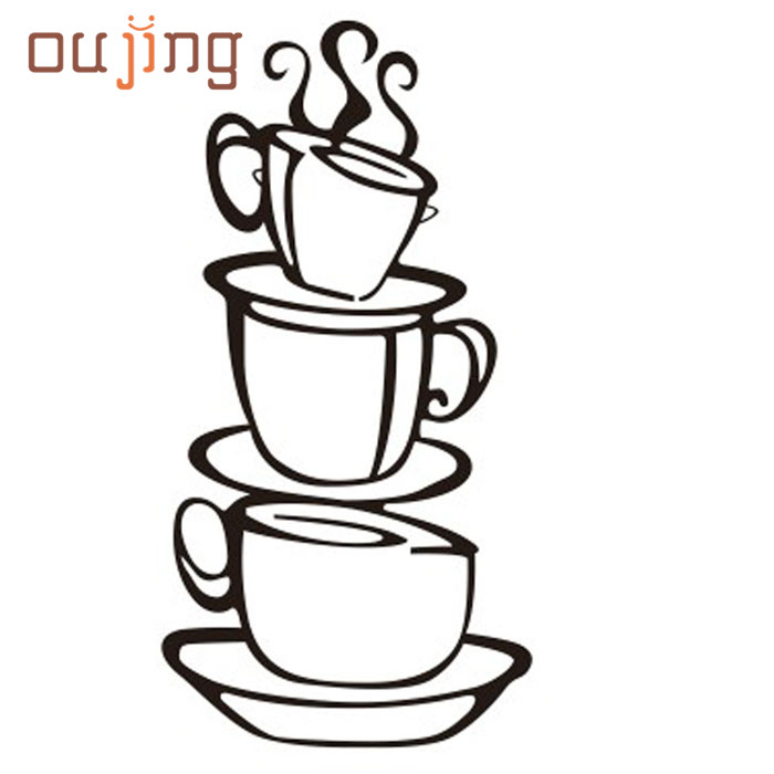2017 Removable Diy Kitchen Decor Coffee House Cup Decals Vinyl Wall Stickerdecor Diy Art Decoration Hot Sale 2017 May26