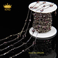 6mm Red Garnet Color Glass Beaded Chain Gun Black Plated Connector Chain Faceted Glass Coin Beaded Rosary Chain LS060