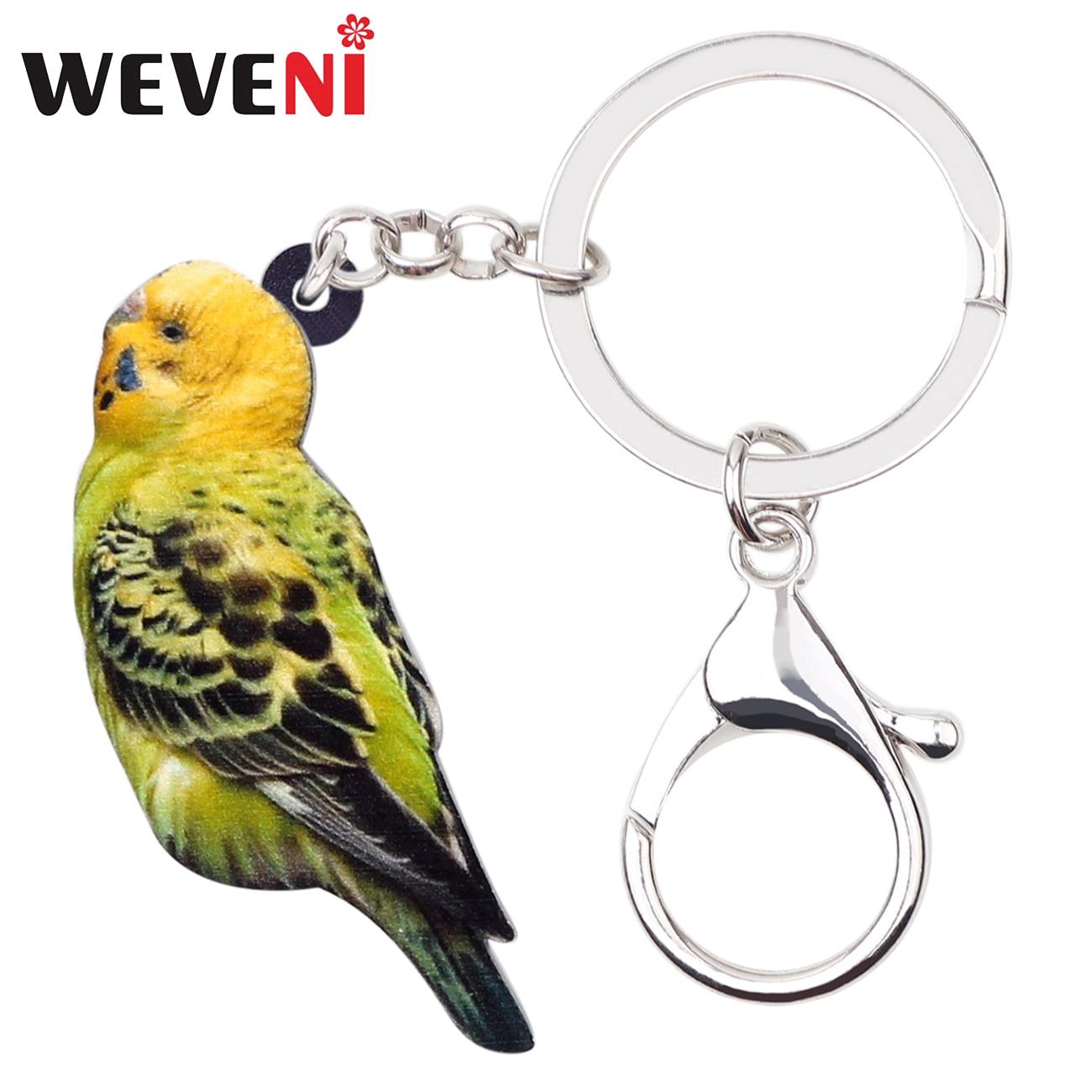 WEVENI Acrylic Budgerigar Parrot Bird Key Chain Keychain Ring Tropic Animal Jewelry For Women Girls Bag Car Purse Charms Pendant