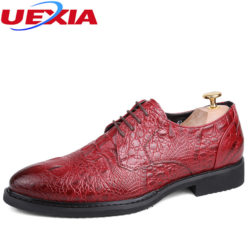UEXIA Dress Breathable Man Shoes Business Red Leather Formal Wedding Shoes Men Brogue Pointed Office Oxfords Crocodile pattern mycolen 2018 high quality business dress men shoes luxury designer crocodile pattern formal classic office wedding oxfords