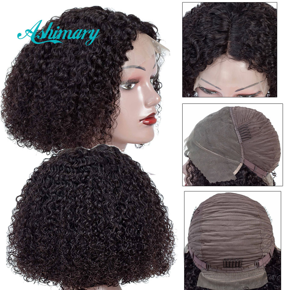 Human-Hair-Wigs Lace-Front Black-Women Brazilian Short Baby Hair Curly Pre-Plucked