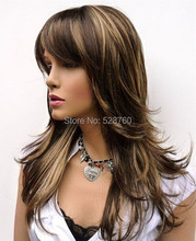 Feathery Long Layered Wig Brown with Blonde Highlights Free shipping