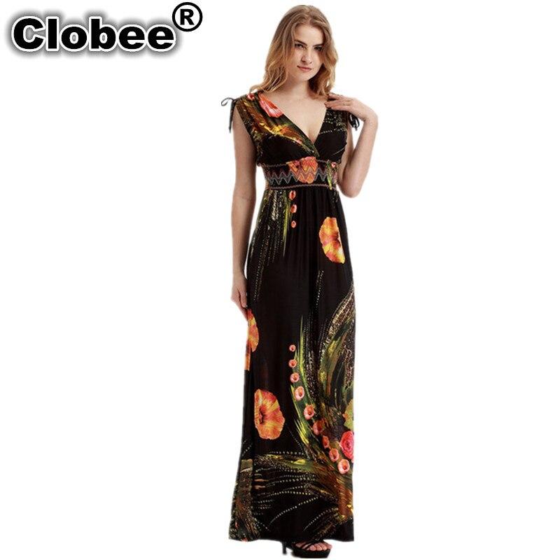 a9dfa43da96b Clobee 2019 Women Summer Elegant Vintage ukraine Boho Beach Clothing Ladies  Bohemian Print Maxi Long Dress