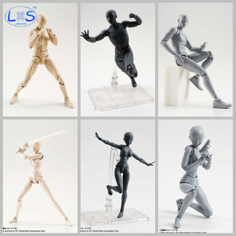 (LONSUN)10 Styles Anime Archetype He She Ferrite Figma Movable BODY KUN BODY CHAN PVC Action Figure for Collectible Model Toys shfiguarts pvc body kun body chan body chan body kun grey color ver black action figure collectible model toy