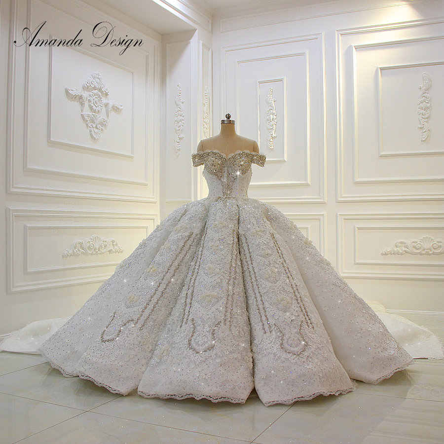 Amanda Design Off Shoulder Short Sleeves Lace Applique Rhinestones Crystal Luxury Wedding Dress 2019
