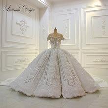Свадебное платье Аманды с открытыми плечами, коротким рукавом, кружевной аппликацией, стразами и кристаллами, 2019