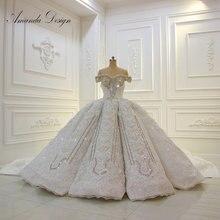 Amanda design fora do ombro mangas curtas rendas apliques strass cristal luxo vestido de casamento 2019