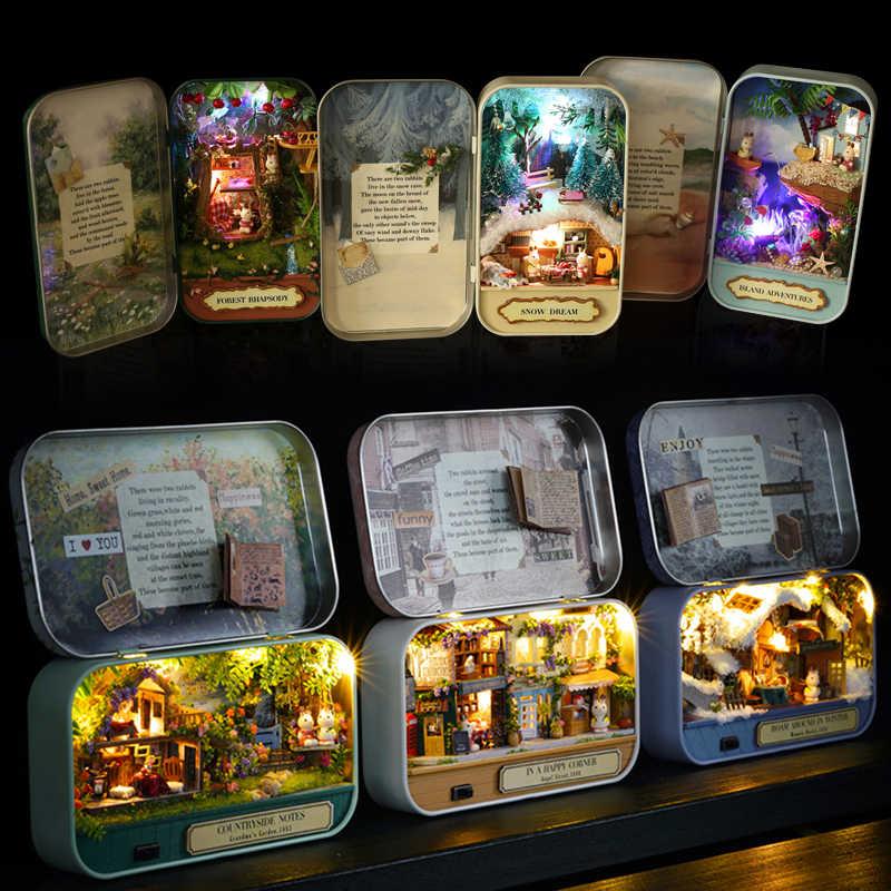 Cutebee DIY dom miniatura z meblami LED muzyka osłona przeciwpyłowa Model klocki dla dzieci Casa Newv1-v3