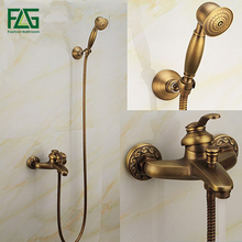 Fashion Top High Quality Total Brass Gold Europe Style Deck-mounted Bathtub Shower Set Bathroom Shower Set Faucet Tap Mixer