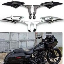 2PCS אופנוע ידית מראה אחורית צד מראה להארלי Sportster Dyna Softail
