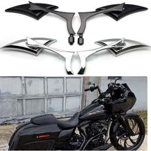 Espelho retrovisor para motocicleta, 2 peças, espelho lateral com alça para harley sportster dyna softail
