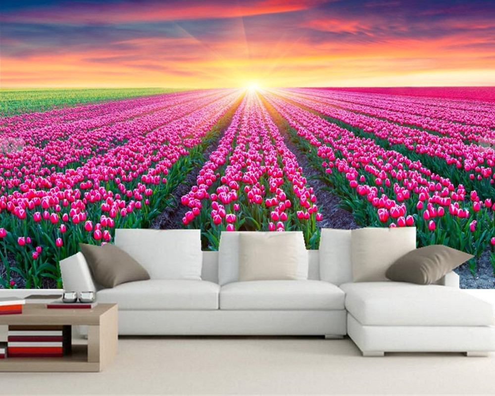 Custom 3D mural,Fields Tulips Sunrises and sunsets Flowers wallpapers wallpaper,living room sofa TV wall bedroom papel de parede custom 3d mural wallpaper european style stereoscopic relief golden flowers living room sofa bedroom tv background wall display