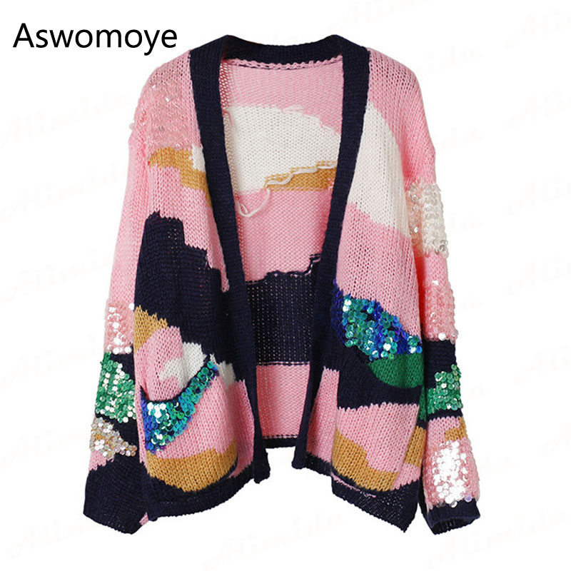 2017 Autumn Winter Women Sweaters Full Sleeve Cardigans Pink Sequins V-neck Knitted Loose Coat with Pocket Haute Couture