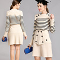 European Women Spring Autumn Striped Long Sleeve Sweater+Slim Skirt Runway Brand High Quality Knitted Twin Set Brief Outfit