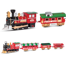 Merry Christmas Thomas Train Electric Track Train Light Music Classic Diecast Rail Car 2 Carriages Small Train Car Toys for Boys