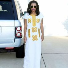 H&D south africa women WHITE dress lady robes africaine clothes dashiki clothing bazin riche outfit plus size embroidery