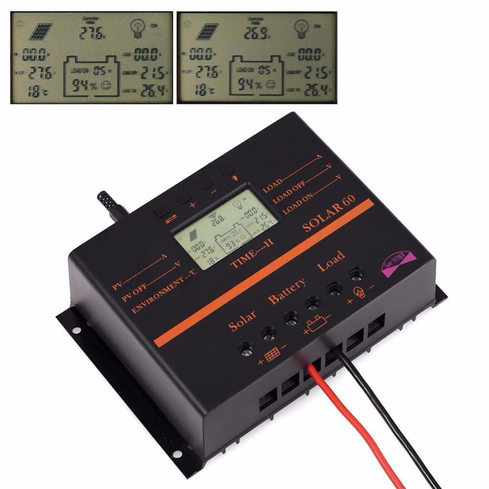 60A PWM Auto Switch intelligent Solar Charger Controller 12V/24V LCD display Discharge With USB Fr Solar Battery Panel Regulator pwm 30a 20a 10a solar charge controller 12v 24v auto with back light lcd display dual usb 5v solar regulator charger z10 z20 z30
