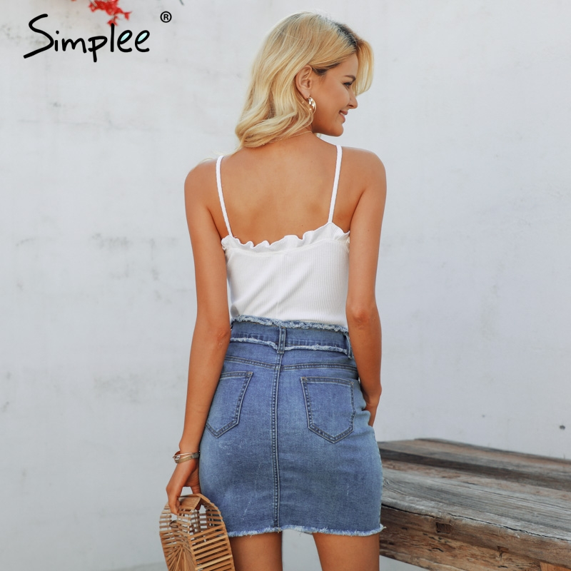 Simplee Sexy pencil denim women skirt Tassel high waist bodycon mini skirt female Casual streetwear jeans summer skirts 2019