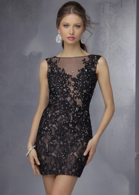 Free Shipping Black Semi Formal Short Prom Dresses 2017 Sheath High