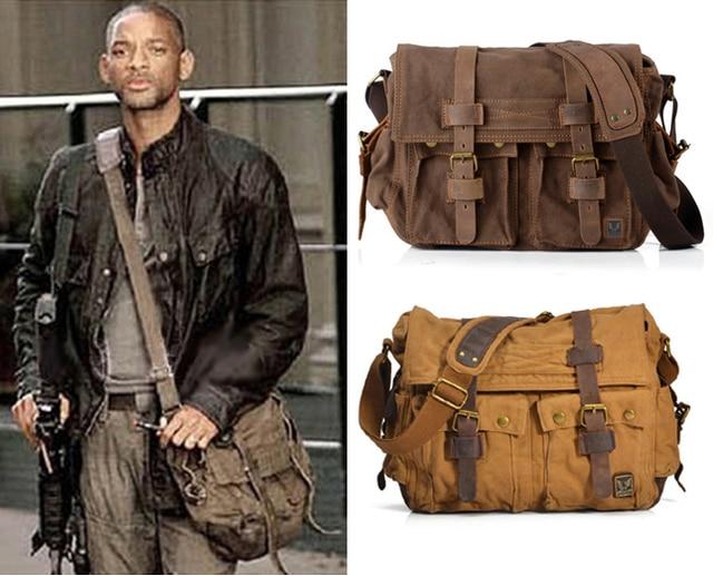 5e29a8142 2016 Fashion Vintage Leather Canvas Men's Messenger Bag Cotton Canvas Crossbody  Bag Men Shoulder Bag Sling …