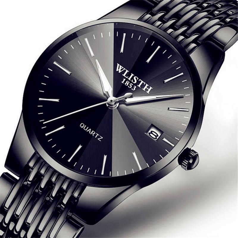 WLISTH marque de luxe hommes montre à Quartz hommes étanche Ultra mince analogique horloge mâle mode Sport montres noir hommes 34mm femmes 22