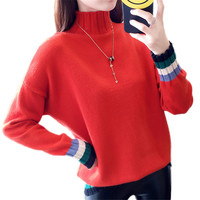 Spring Autumn Women Sweater 2019 Fashion Stitching Pullover Loose High Collar Sweater Rainbow Long Sleeve Ladies Knitwear Lj78