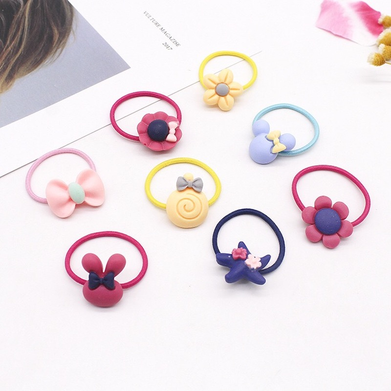 20pcs/Lot New Girls Cute Cartoon Elastic Hair Bands Headwear Scrunchies Rubber Headbands Accessories